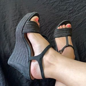UGG strappy woven wedges